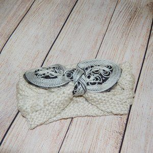Ivory embellished bow knit sweater headband